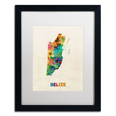 Trademark Fine Art Belize Watercolor Map by Michael Tompsett 16 x 20 White Matted Black Frame (MT0745-B1620MF)
