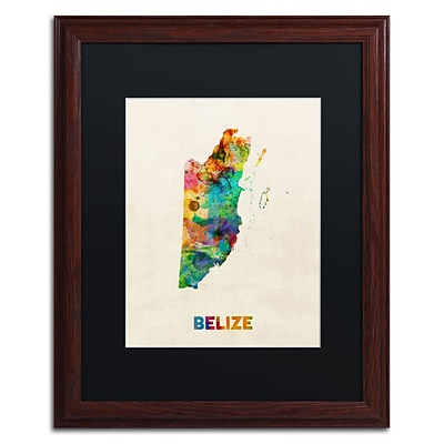 Trademark Fine Art Belize Watercolor Map by Michael Tompsett 16 x 20 Black Matted Wood Frame (MT0745-W1620BMF)