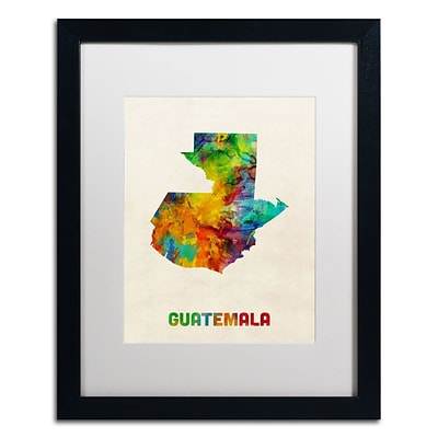 Trademark Fine Art Guatemala Watercolor Map by Michael Tompsett 16 x 20 White Matted Black Frame (MT0746-B1620MF)