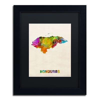 Trademark Fine Art Honduras Watercolor Map by Michael Tompsett 11 x 14 Black Matted Black Frame (MT0748-B1114BMF)