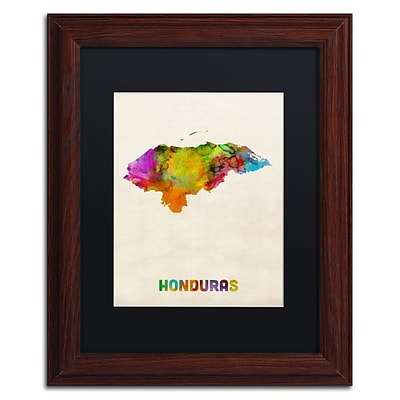 Trademark Fine Art Honduras Watercolor Map by Michael Tompsett 11 x 14 Black Matted Wood Frame (MT0748-W1114BMF)