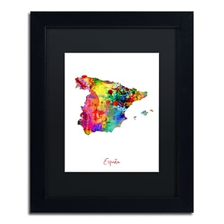 Trademark Fine Art Spain Watercolor Map by Michael Tompsett 11 x 14 Black Matted Black Frame (