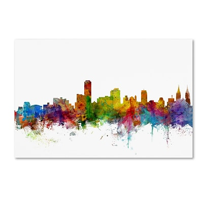 Trademark Fine Art Adelaide Australia Skyline by Michael Tompsett 16 x 24 Canvas Art (MT0759-C1624GG)
