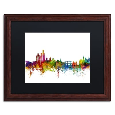Trademark Fine Art Amsterdam Skyline II by Michael Tompsett 16 x 20 Black Matted Wood Frame (MT0760-W1620BMF)