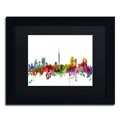Trademark Fine Art Auckland New Zealand Skyline by Michael Tompsett 11 x 14 Black Frame (MT0761-B1114BMF)
