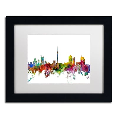 Trademark Fine Art Auckland New Zealand Skyline by Michael Tompsett 11 x 14 Black Frame (MT0761-B1114MF)
