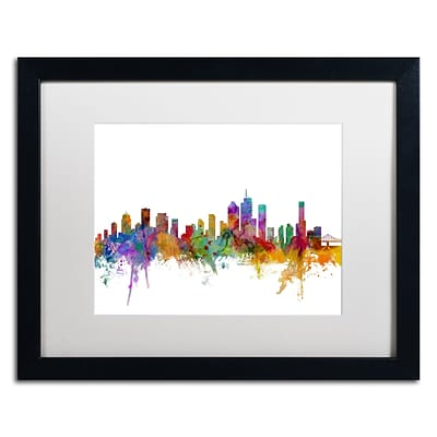 Trademark Fine Art Brisbane Australia Skyline by Michael Tompsett 16 x 20 White Matted Black Frame (MT0765-B1620MF)