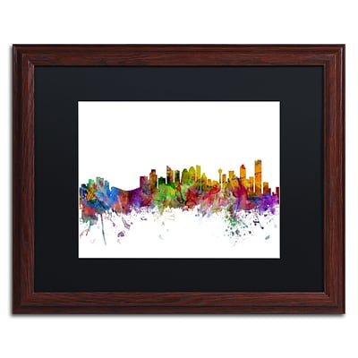Trademark Fine Art Calgary Canada Skyline by Michael Tompsett 16 x 20 Black Matted Wood Frame (MT0767-W1620BMF)
