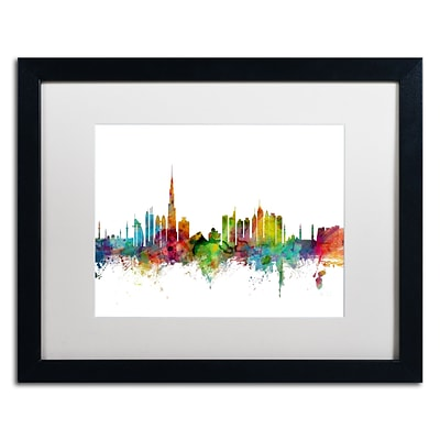 Trademark Fine Art Dubai Skyline by Michael Tompsett 16 x 20 White Matted Black Frame (MT0771-B1620MF)