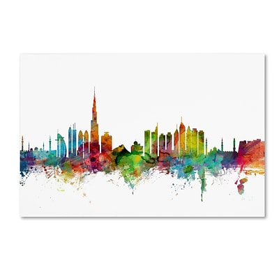 Trademark Fine Art Dubai Skyline by Michael Tompsett 30 x 47 Canvas Art (MT0771-C3047GG)