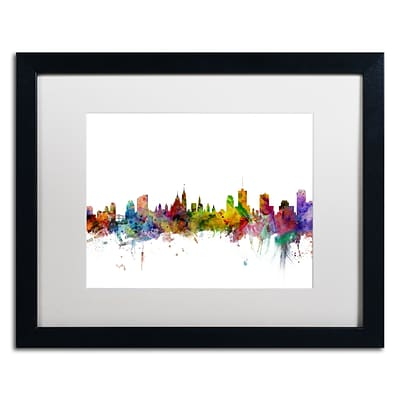 Trademark Fine Art Ottawa Canada Skyline by Michael Tompsett 16 x 20 White Matted Black Frame (MT0779-B1620MF)