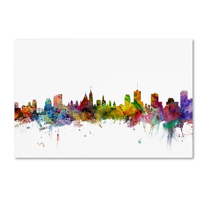 Trademark Fine Art Ottawa Canada Skyline by Michael Tompsett 16 x 24 Canvas Art (MT0779-C1624GG)