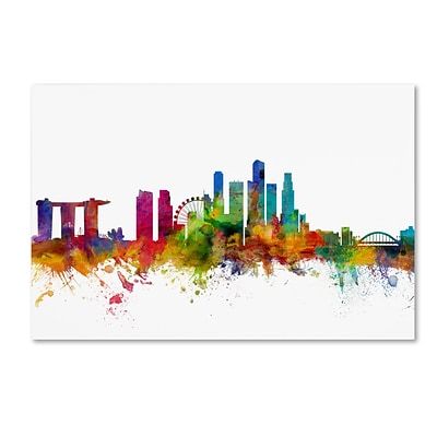 Trademark Fine Art Singapore Skyline by Michael Tompsett 22 x 32 Canvas Art (MT0783-C2232GG)