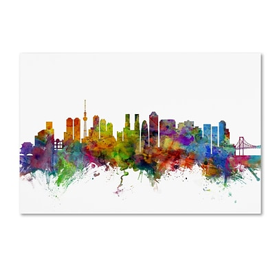 Trademark Fine Art Tokyo Japan Skyline by Michael Tompsett 16 x 24 Canvas Art (MT0786-C1624GG)
