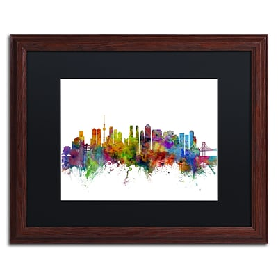 Trademark Fine Art Tokyo Japan Skyline by Michael Tompsett 16 x 20 Black Matted Wood Frame (MT0786-W1620BMF)