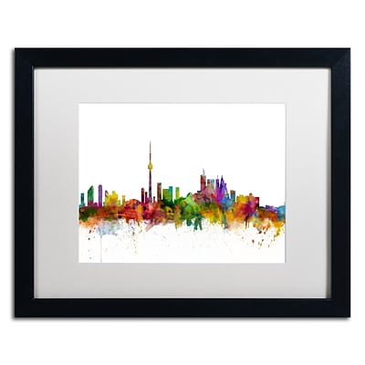 Trademark Fine Art Toronto Canada Skyline IV by Michael Tompsett 16 x 20 White Matted Black Frame (MT0787-B1620MF)