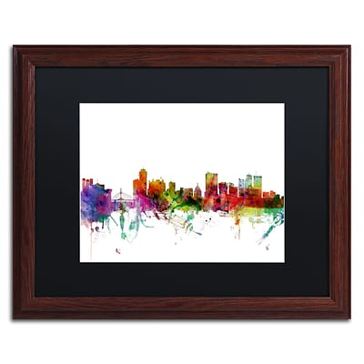 Trademark Fine Art Winnipeg Canada Skyline by Michael Tompsett 16 x 20 Black Matted Wood Frame (MT0791-W1620BMF)