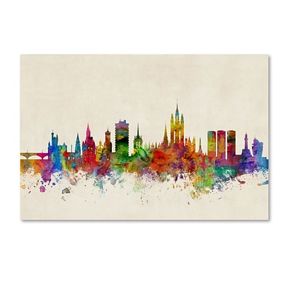 Trademark Fine Art Aberdeen Scotland Skyline by Michael Tompsett 16 x 24 Canvas Art (MT0793-C1624GG)