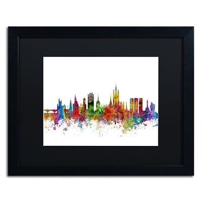 Trademark Fine Art Aberdeen Scotland Skyline II by Michael Tompsett 16 x 20 Black Matted Black Frame (MT0794-B1620BMF)