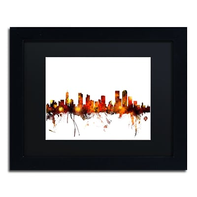 Trademark Fine Art Denver Colorado Skyline II by Michael Tompsett 11 x 14Black Frame (MT0799-B1114BMF)