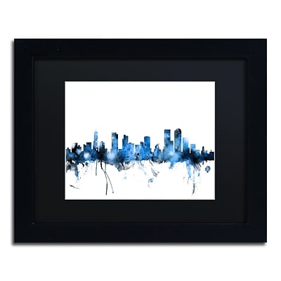 Trademark Fine Art Denver Colorado Skyline III by Michael Tompsett 11 x 14Black Frame (MT0800-B1114BMF)