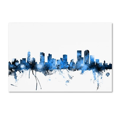 Trademark Fine Art Denver Colorado Skyline by Michael Tompsett 30 x 47 Canvas Art (MT0800-C3047GG)