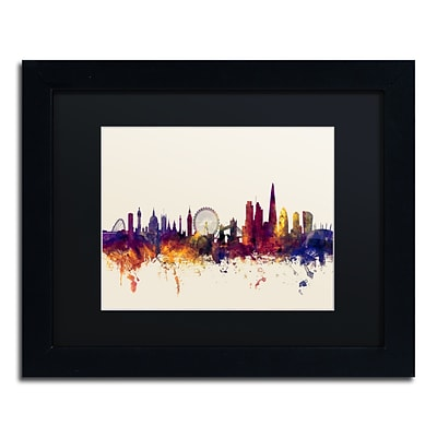 Trademark Fine Art London England Skyline III by Michael Tompsett 11 x 14Black Frame (MT0802-B1114BMF)