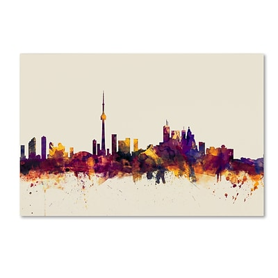 Trademark Fine Art Toronto Canada Skyline by Michael Tompsett 16 x 24 Canvas Art (MT0808-C1624GG)