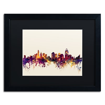 Trademark Fine Art Cincinnati Ohio Skyline IV by Michael Tompsett 16 x 20 Black Matted Black Frame (MT0812-B1620BMF)