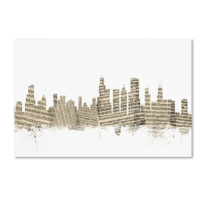 Trademark Fine Art Chicago Illinois Skyline Sheet Music by Michael Tompsett 22 x 32 Canvas Art (MT0817-C2232GG)