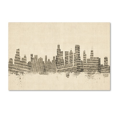 Trademark Fine Art Chicago Illinois Skyline Sheet Music by Michael Tompsett 12 x 19 Canvas Art (MT0818-C1219GG)
