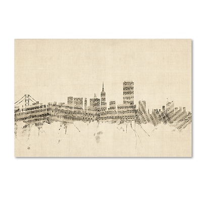 Trademark Fine Art San Francisco Skyline Sheet Music by Michael Tompsett 22 x 32 Canvas Art (MT0824-C2232GG)