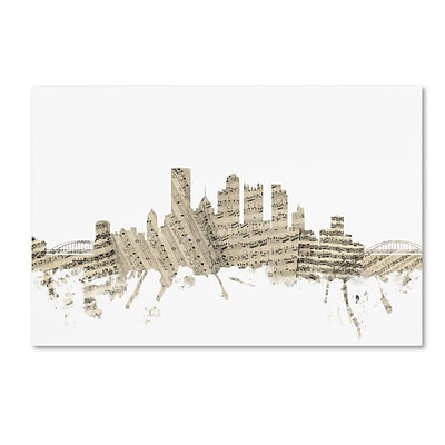 Trademark Fine Art Pittsburgh Skyline Sheet Music by Michael Tompsett 16 x 24 Canvas Art (MT0827-C1624GG)
