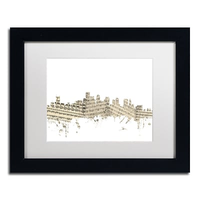 Trademark Fine Art Boston Skyline Sheet Music by Michael Tompsett 11 x 14 Black Frame (MT0835-B1114MF)