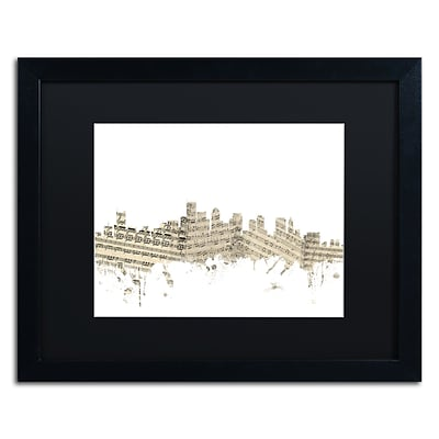 Trademark Fine Art Boston Skyline Sheet Music by Michael Tompsett 16 x 20 Black Matted Black Frame (MT0835-B1620BMF)