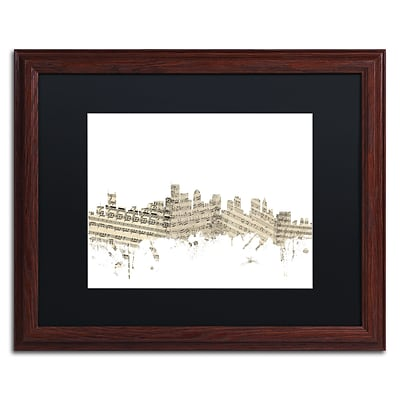 Trademark Fine Art Boston Skyline Sheet Music by Michael Tompsett 16 x 20 Black Matted Wood Frame (MT0835-W1620BMF)