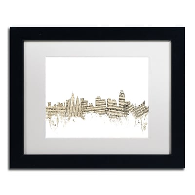 Trademark Fine Art Cincinnati Skyline Sheet Music by Michael Tompsett 11 x 14 Black Frame (MT0839-B1114MF)
