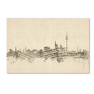 Trademark Fine Art Berlin Germany Skyline Sheet Music by Michael Tompsett 12 x 19 Canvas Art (MT0842-C1219GG)