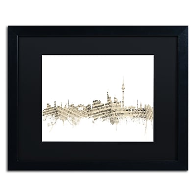 Trademark Fine Art Berlin Skyline Sheet Music by Michael Tompsett 16 x 20 Black Matted Black Frame (MT0843-B1620BMF)