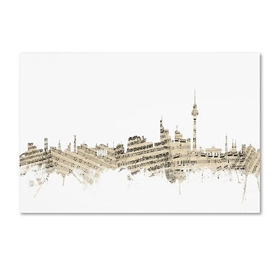 Trademark Fine Art Berlin Germany Skyline Sheet Music by Michael Tompsett 22 x 32 Canvas Art (MT0843-C2232GG)