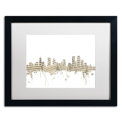 Trademark Fine Art Denver Skyline Sheet Music by Michael Tompsett 16 x 20 White Matted Black Frame (MT0845-B1620MF)