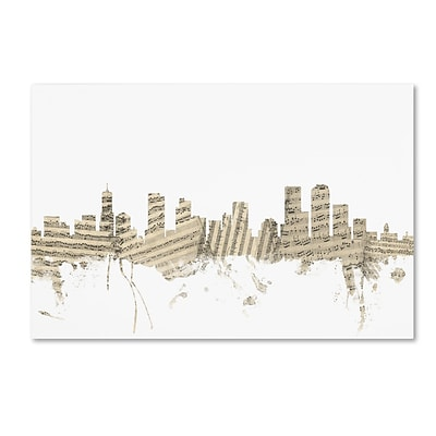 Trademark Fine Art Denver Colorado Skyline Sheet Music by Michael Tompsett 16 x 24 Canvas Art (MT0845-C1624GG)