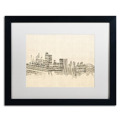 Trademark Fine Art Sydney Skyline Sheet Music by Michael Tompsett 16 x 20 White Matted Black Frame (MT0846-B1620MF)