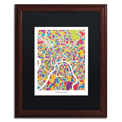 Trademark Fine Art Moscow City Street Map II by Michael Tompsett 16 x 20 Black Matted Wood Frame (MT0848-W1620BMF)