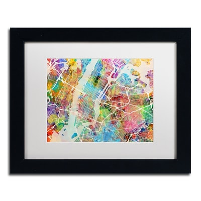 Trademark Fine Art New York City Street Map by Michael Tompsett 11 x 14 White Matted Black Frame (MT0854-B1114MF)