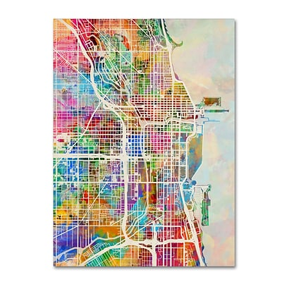 Trademark Fine Art Chicago City Street Map by Michael Tompsett 18 x 24 Canvas Art (MT0856-C1824GG)