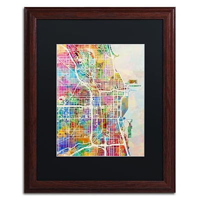 Trademark Fine Art Chicago City Street Map II by Michael Tompsett 16 x 20 Black Matted Wood Frame (MT0856-W1620BMF)
