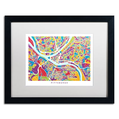 Trademark Fine Art Pittsburgh Street Map by Michael Tompsett 16 x 20 White Matted Black Frame (MT0862-B1620MF)