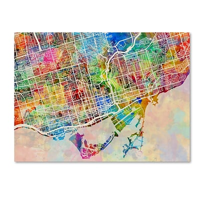 Trademark Fine Art Toronto Street Map by Michael Tompsett 18 x 24 Canvas Art (MT0863-C1824GG)