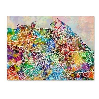 Trademark Fine Art Edinburgh Street Map by Michael Tompsett 14 x 19 Canvas Art (MT0866-C1419GG)